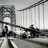 Philip Ippolito and passenger Joseph Brennan Jr. made an emergency landing on the George Washington Bridge, December 26, 1965.