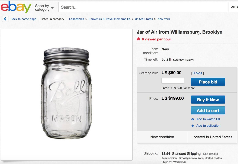 Jar of Air from Williamsburg, Brooklyn