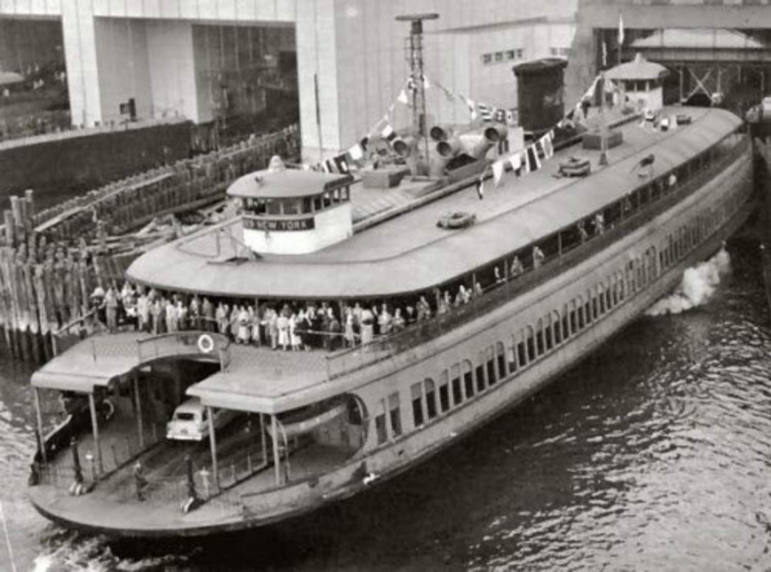 An old shot of Miss New York Ferry with outside seating.