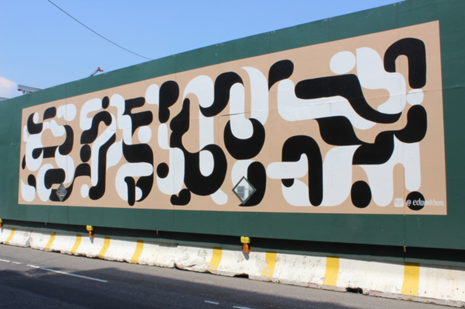 Edward Ubiera went with a tubular design in his mural.