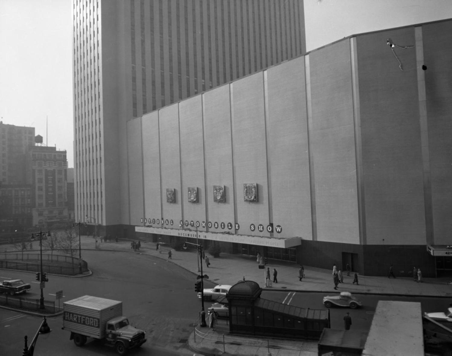 For 1957, the New York Auto Show's new home had officially moved to the Coliseum at Columbus Circle.