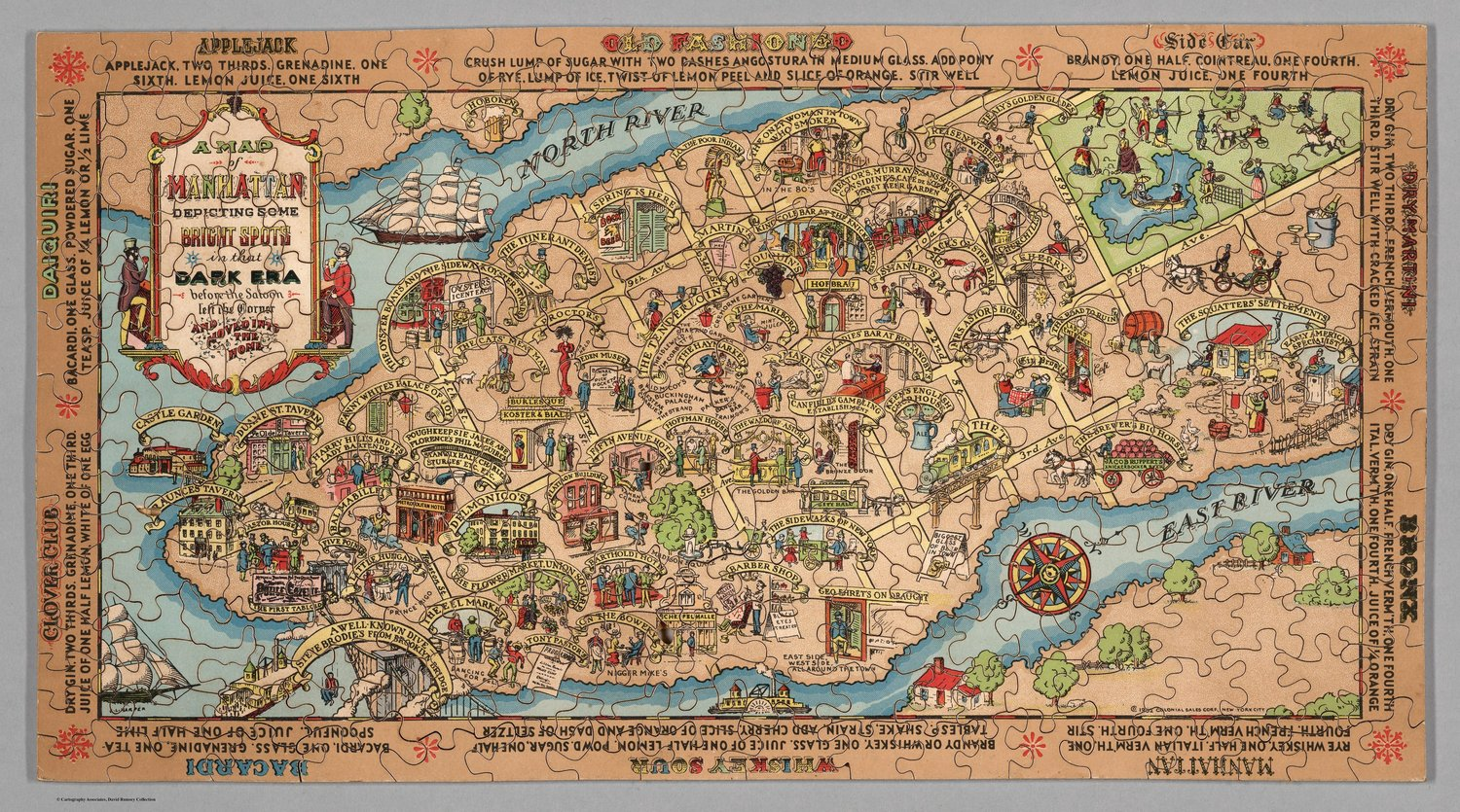 Puzzle map of Manhattan from 1932