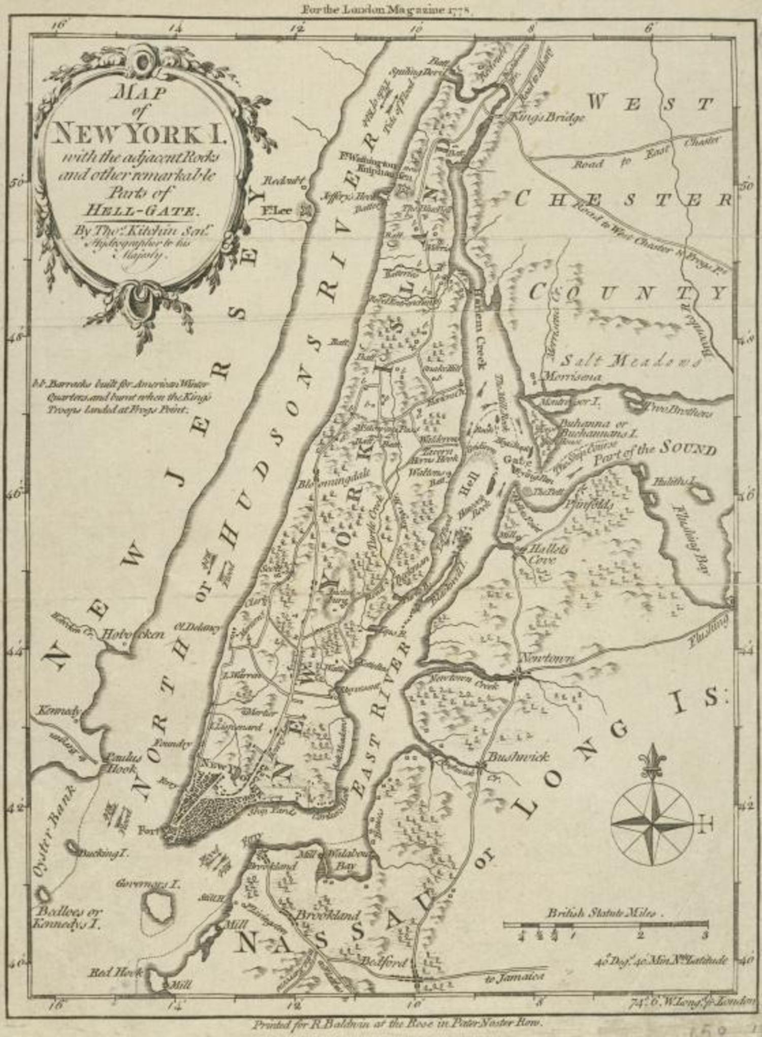 Map of New York l: with the adjacent rocks and other remarkable parts of Hell-Gate (1778)