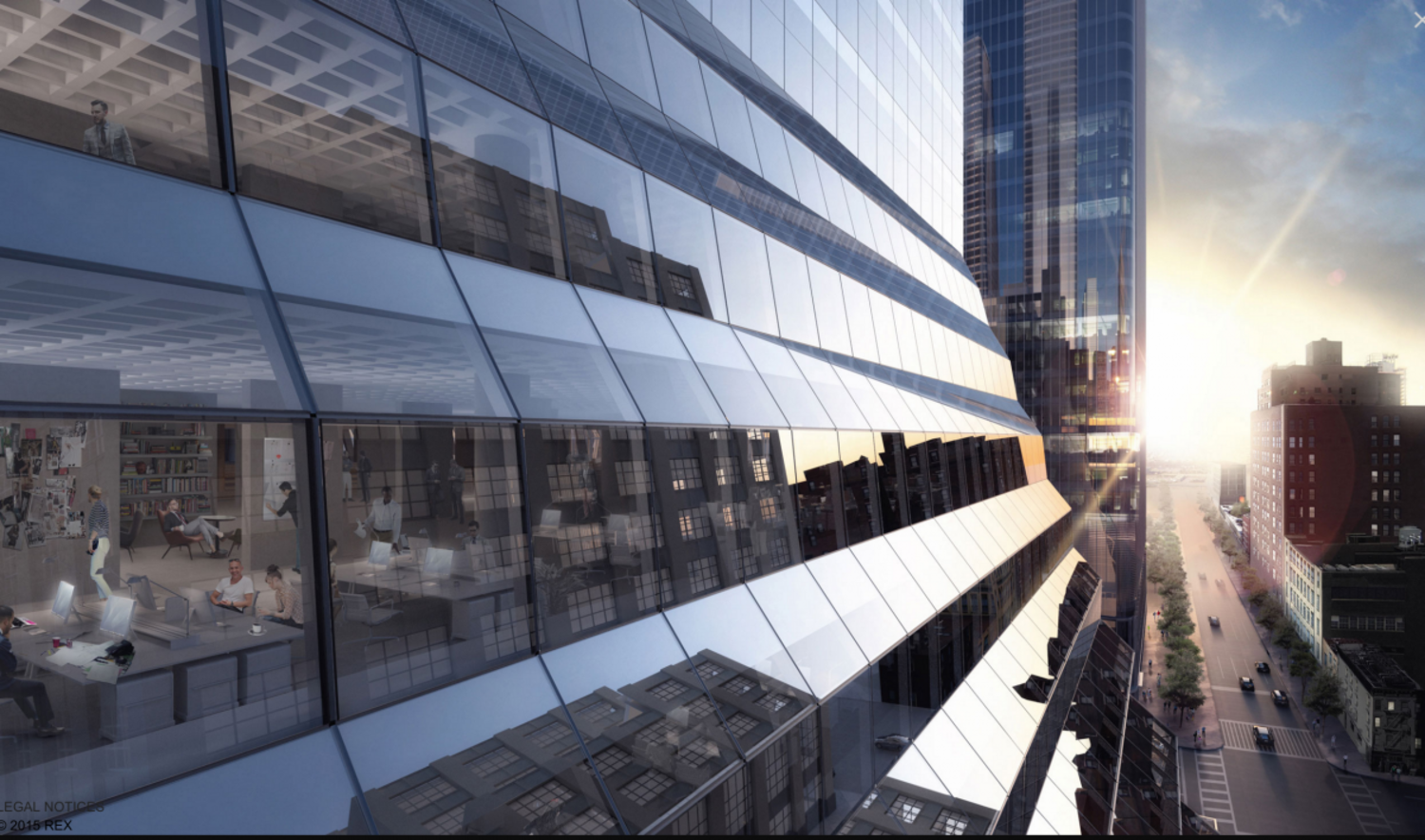 """The massive undertaking also involves the repositioning, re-cladding, and interior revamp of a 16-story Brutalist landmark at 450 West 33rd Street. Originally built in 1969, the 1.7-million-square-foot structure—soon to be called """"Five Manhattan West""""—will stand fully clad in a new $200 million glass exterior designed by New York-based REX Architecture by year's end."""