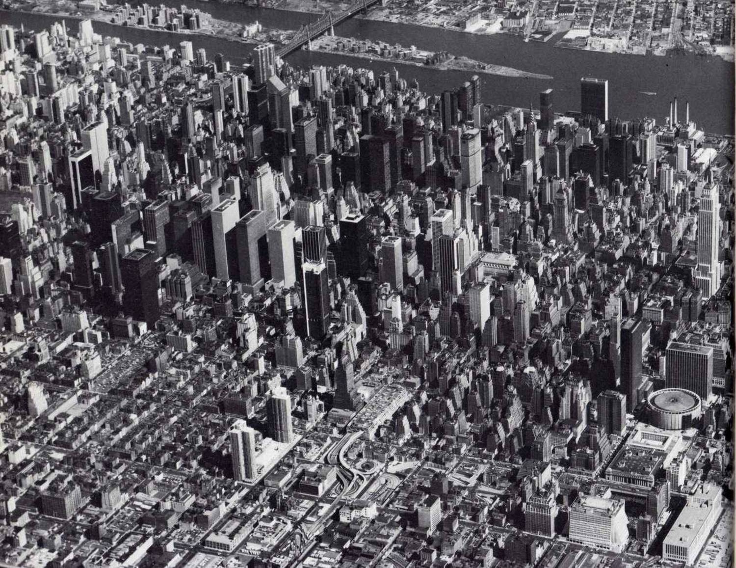 Aerial view looking northeast of Midtown Manhattan. March, 1978.