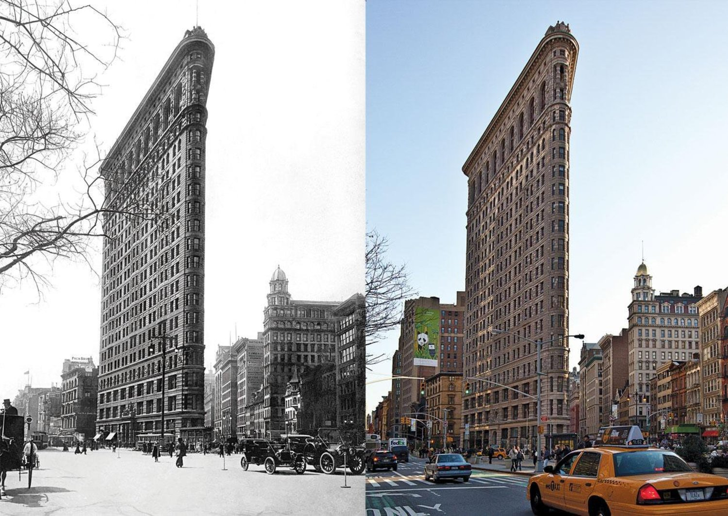 The Flatiron Building, Circa 1917 and 2012. Photos by The New York Times. http://t.co/DTwYqCmn3z