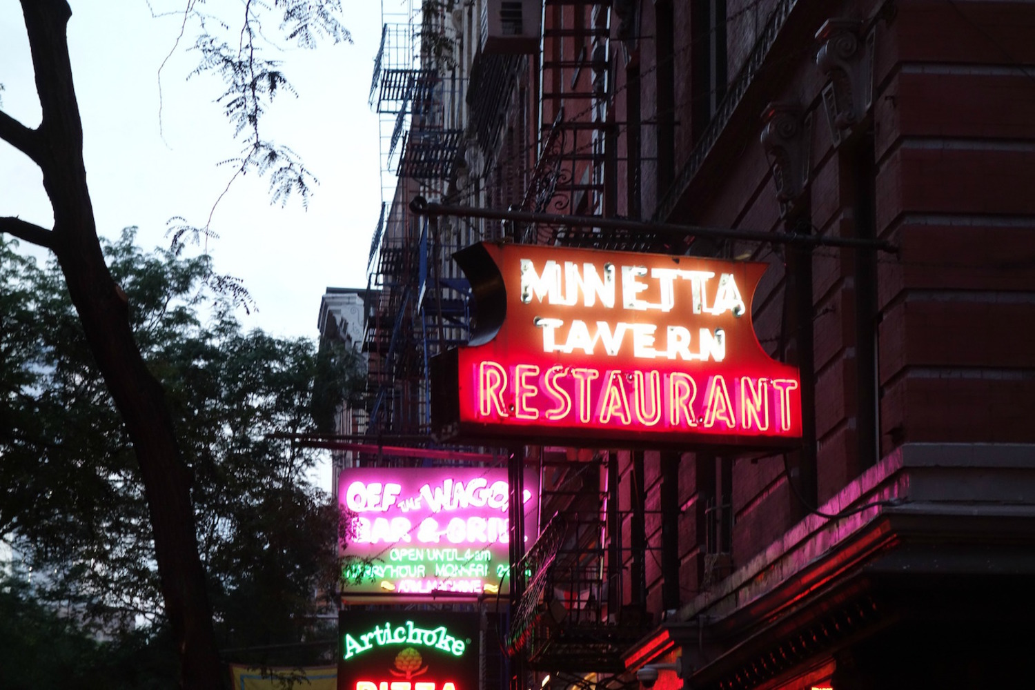 Neon signs on MacDougal Street