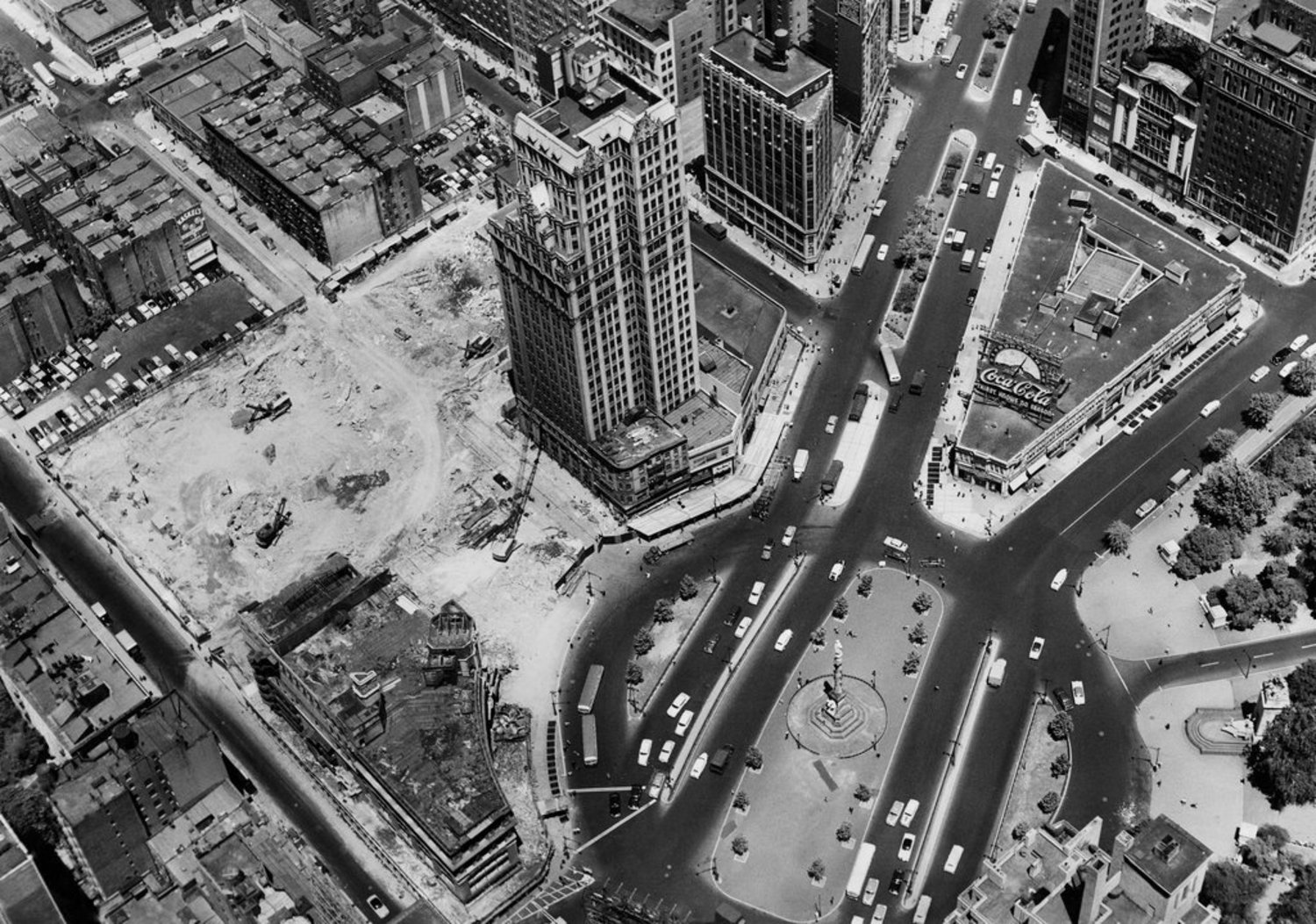 "June 21, 1954: Plans to build on Columbus Circle required demolition of 1819 Broadway, a tower of offices that would be ""the tallest building ever to come down anywhere in the world,"" according to H. B. Mack, president of Wreckers and Excavators Inc. The demolition, which displaced pigeons and others, was to make space for the New York Coliseum, a convention center that stood there from 1956 till 2000, when the Time Warner Center moved in."