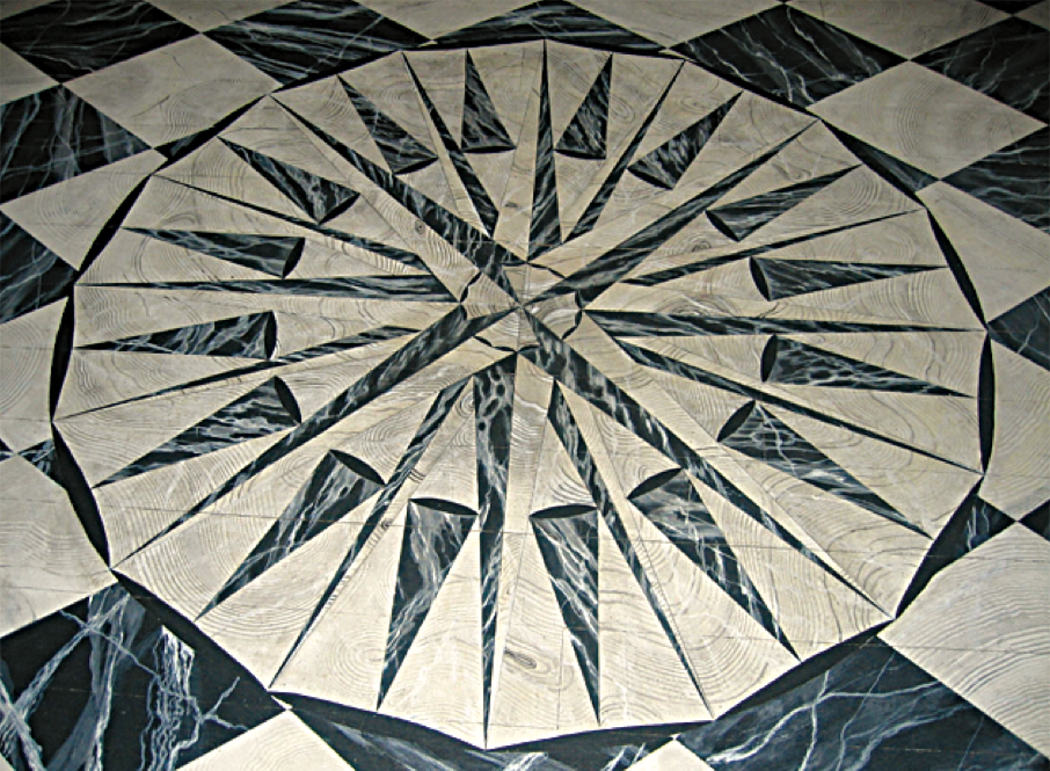 Detail of the compass rose painted on the Foyer floor.