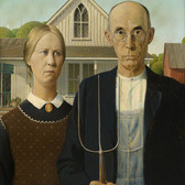Grant Wood's American Gothic. On display at the Whitney Museum of American Art, March 2nd through June 10th, 2018