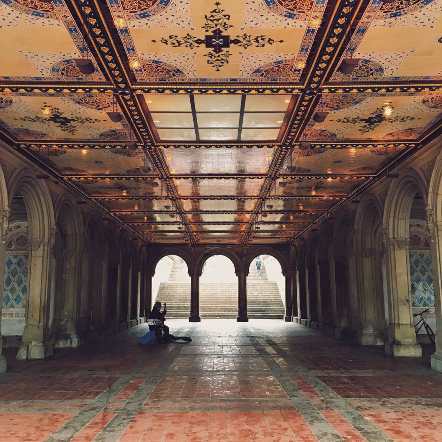 Bethesda Terrace...💕 The stonework of the terrace is a riot of symbolic carvings and mini sculptures, and there's much fun to be looking for the most intriguing of the carving, found on one of the stone posts at the top of the stairs, a flying witch on her broomstick above a jack-o'-lantern pumpkin. This may be a reference to the Irish immigrants who built the terrace and brought Halloween to America with them.  #picturesofnewyork