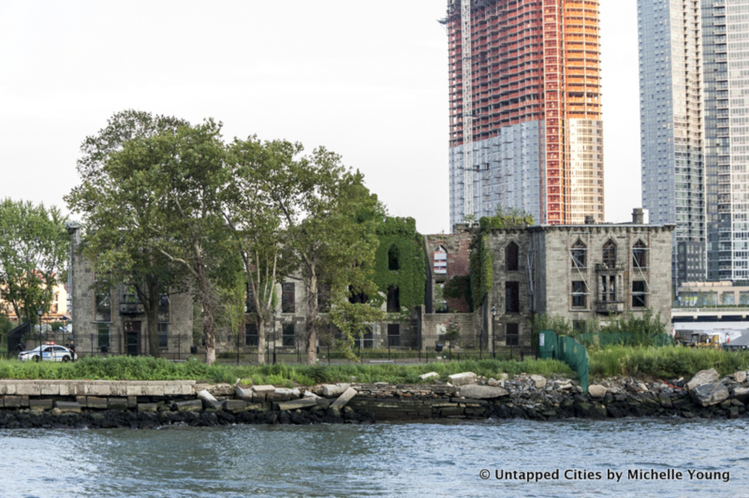The ruins of the former Renwick Smallpox Hospital, just south of the site of the future campus, and a landmarked New York City ruin.