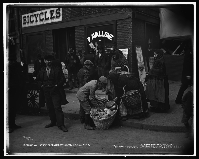 Italian Bread Peddlers, Mulberry Street, New York City ca. 1900