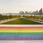 Rendering of NYC's Largest Pride Flag at Franklin D. Roosevelt Four Freedoms Park on Roosevelt Island.