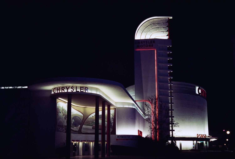 The Chrysler Pavilion lit up at night.
