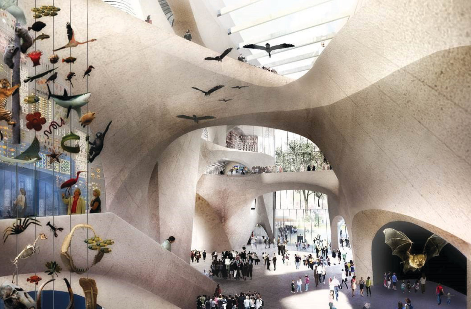 A rendering of the central exhibition hall of the proposed Richard Gilder Center for Science, Education and Innovation at the American Museum of Natural History.