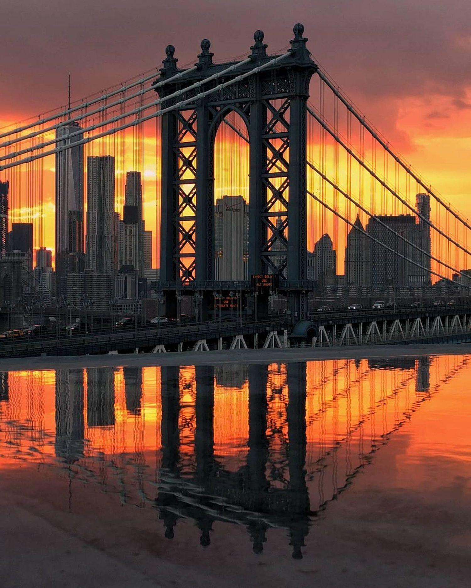 Sunset over Manhattan Bridge, DUMBO, Brooklyn