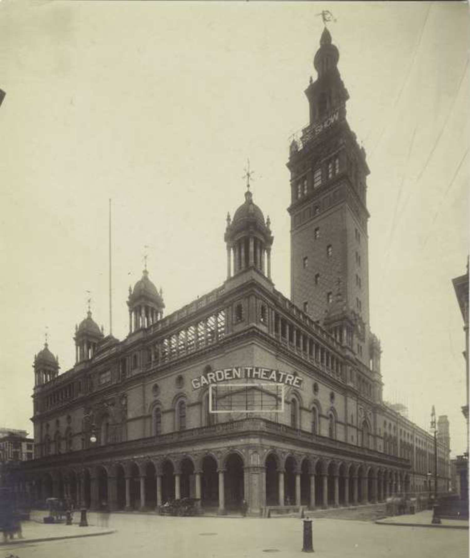 Madison Square Garden II, designed by Stanford White, studded with towers, weathervanes, grand arches and other Moorish touches.