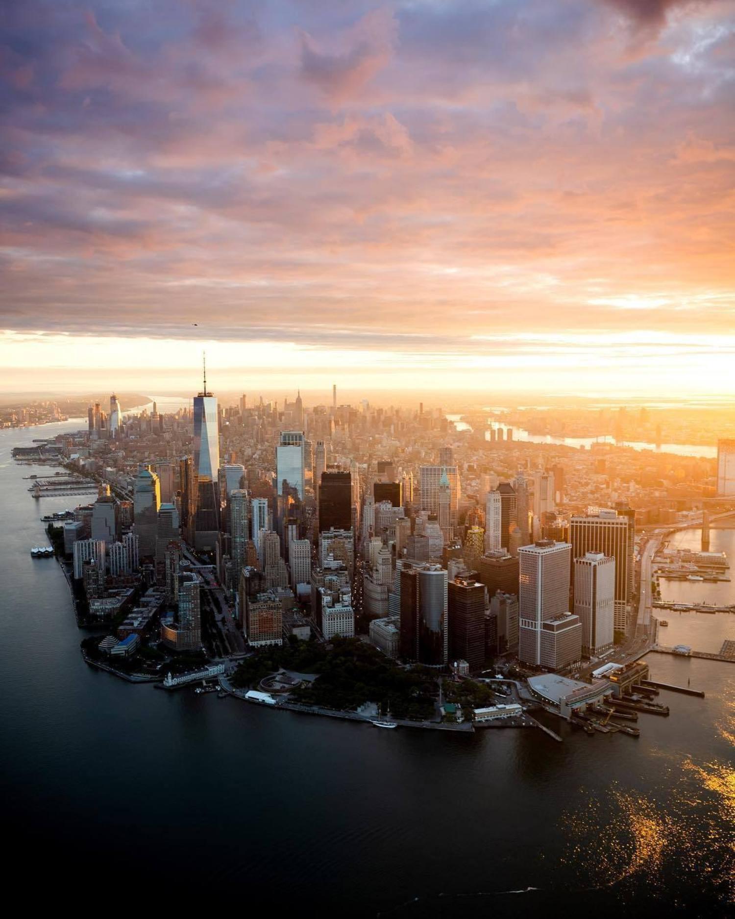 Stunning sunrise over New York, New York