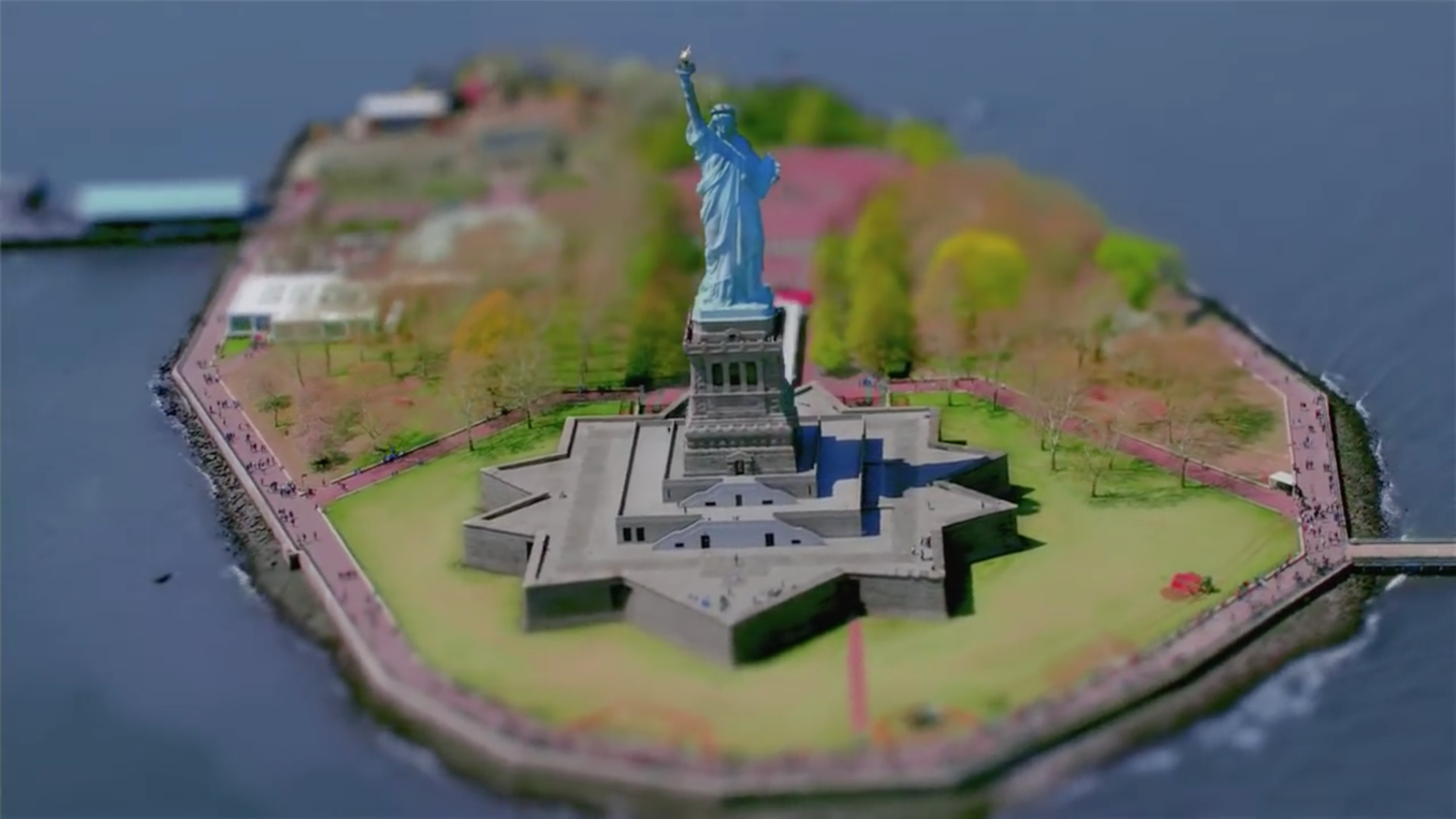 The iconic Statue of Liberty makes an appearance 15 seconds into the video. Access to the statue was reopened in 2009 following a 2001 closure due to the September 11 attacks. Gustave Eiffel's statue was gifted to the United States from the people of France in 1886 and has remained a major tourist attraction.