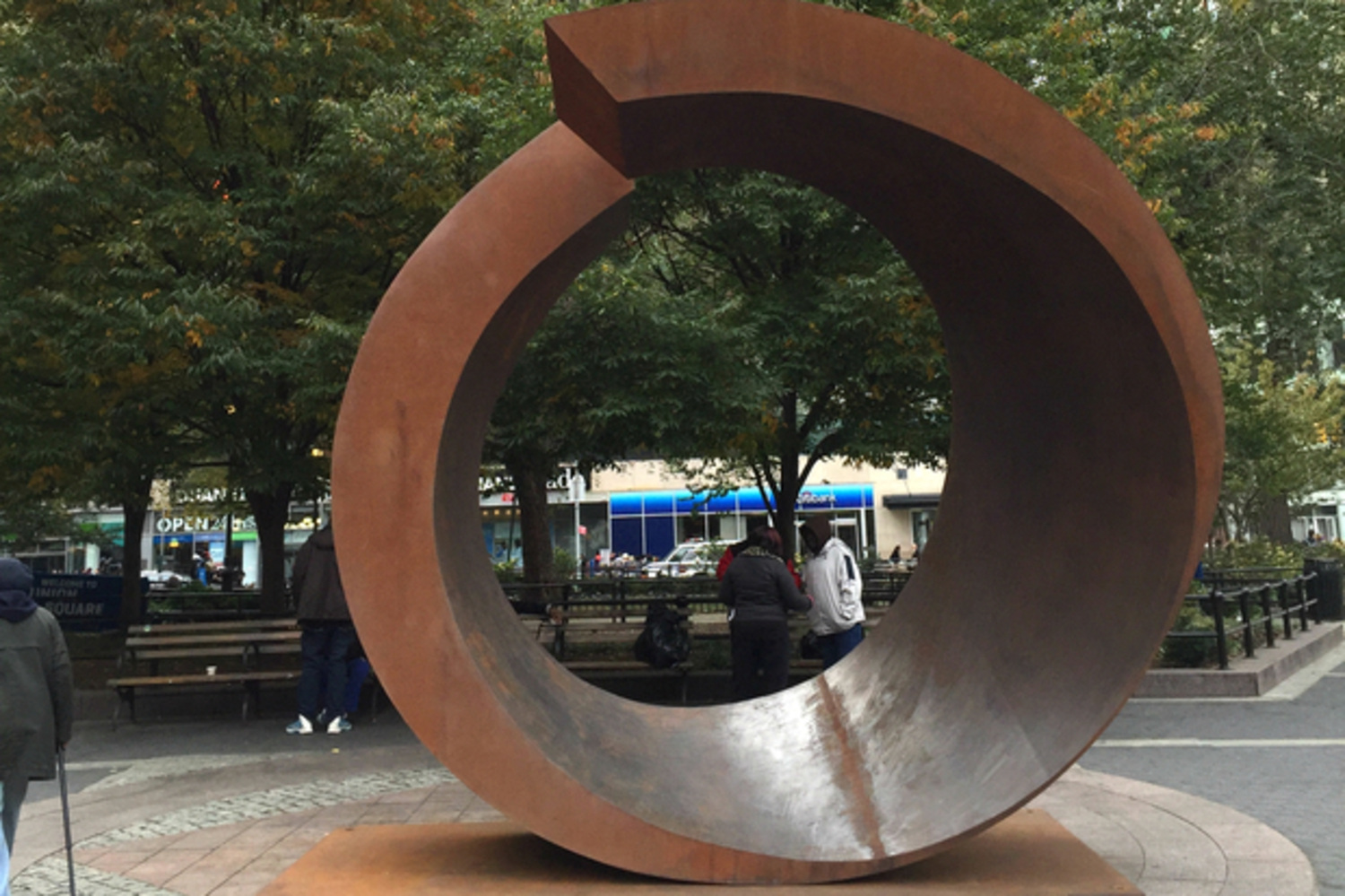 """My Circle,"" by Beverly Pepper, will stand in the Union Square Triangle through May 2016."