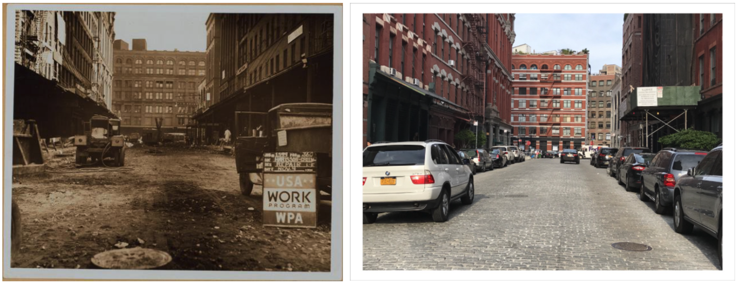 Harrison street, looking east from Greenwich to Hudson streets (W.P.A., 1936). November 9, 1936 // June 29 2017
