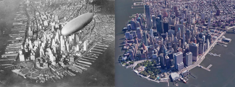 1930s New York City cityscape vs. today