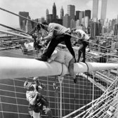 "July 7, 1981: Ironworkers on the Brooklyn Bridge attended to cables that had snapped, closing down the pedestrian walkway from June 28 — when the cables broke — until early August. ""Akira Aimi, the 32-year-old Japanese freelance photographer who was critically injured when he was hit by one of the snapped cables, died yesterday at St. Vincent's Hospital,"" reported The Times. Have no fear, however, said a representative of the Transportation Department. ""When the retainers are installed, it will be equally safe for pedestrians and bicycles. I would walk across it then with my wife and family anytime,"" he said."