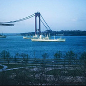 Verrazzano-Narrows Bridge under construction. Shore Road and 97th Street, January 1964