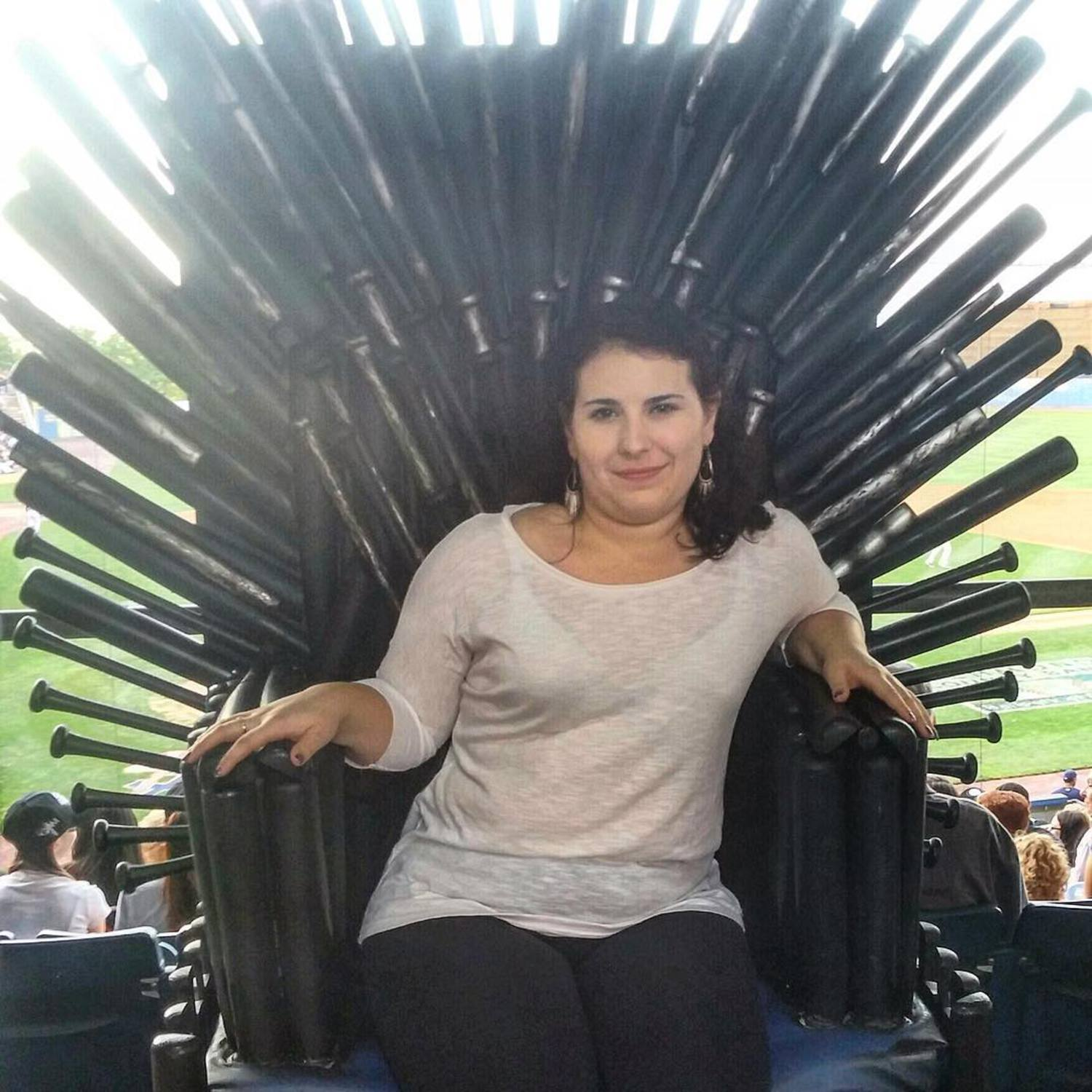 All hail queen 👑 Danielle of house DOnofrio, first of her name, protector of shoes 👠 and conqueror of wine 🍷#gameofthronesnight #sittingontheironthrone #statenislandyankees #direwolves #baller