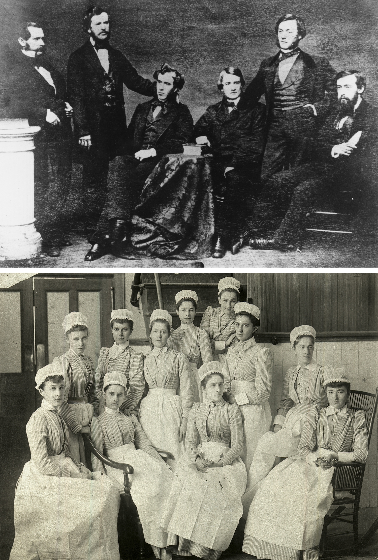 """Bellevue's first class of interns, top, circa 1856. At bottom, America's first professional nursing school opened at Bellevue in 1873. Preferring single, literate, religious women from cultivated families, it rejected most applicants on account of """"bad breeding."""""""