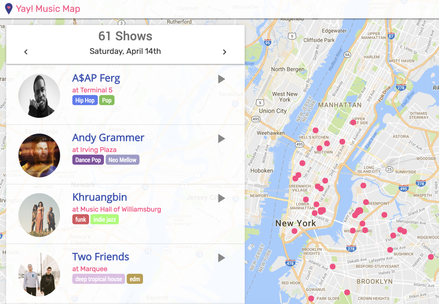 Interactive Map Of New York City.This Interactive Map Shows All New York City Concerts And Shows