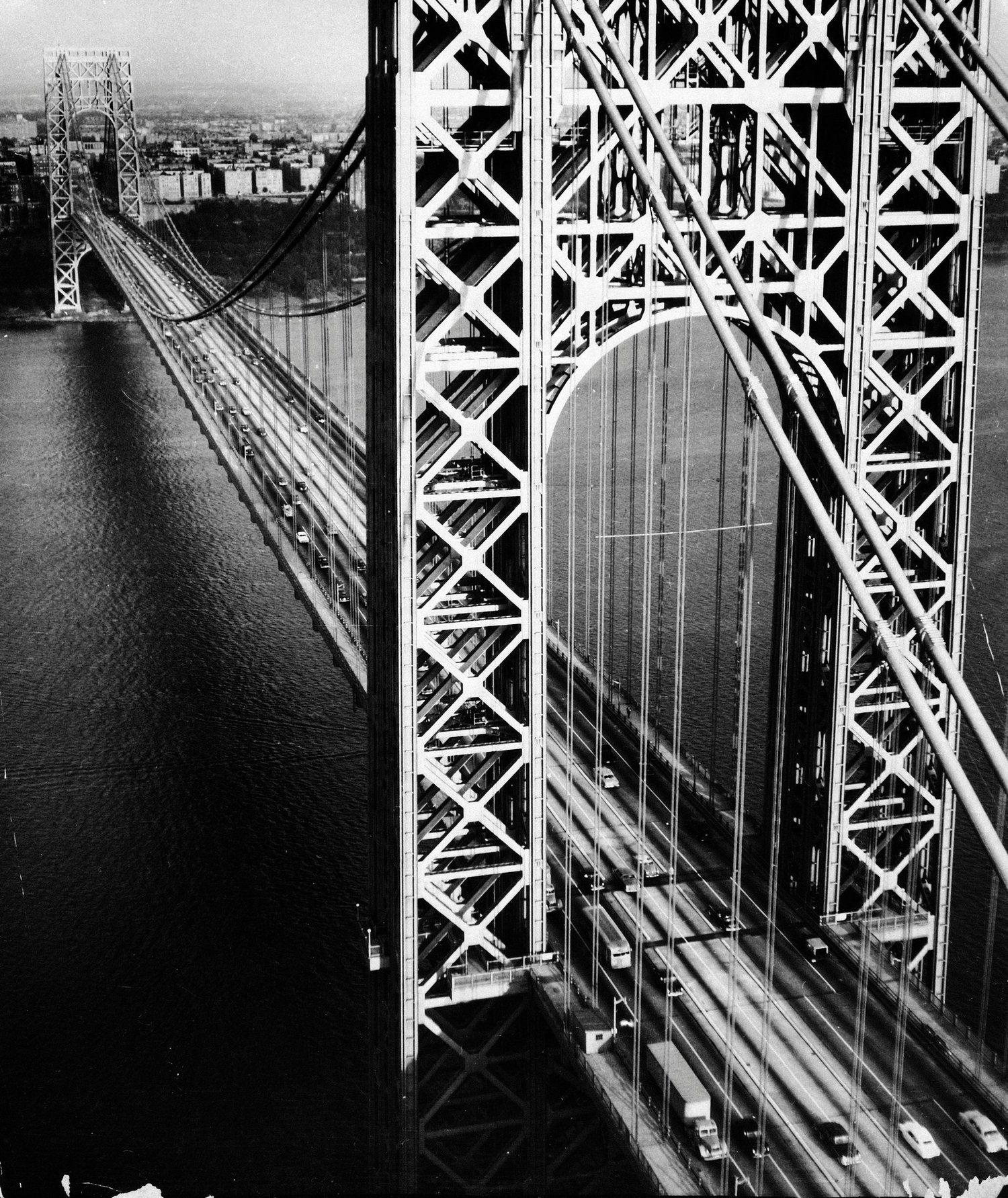 A view from a helicopter overlooking the George Washington Bridge in 1951.