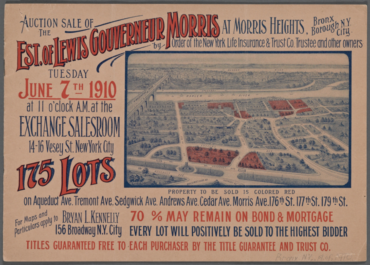 Auction Sale of the Est. of Lewis Gouverneur Morris at Morris Heights, Bronx Borough NYC... 175 Lots (1910)