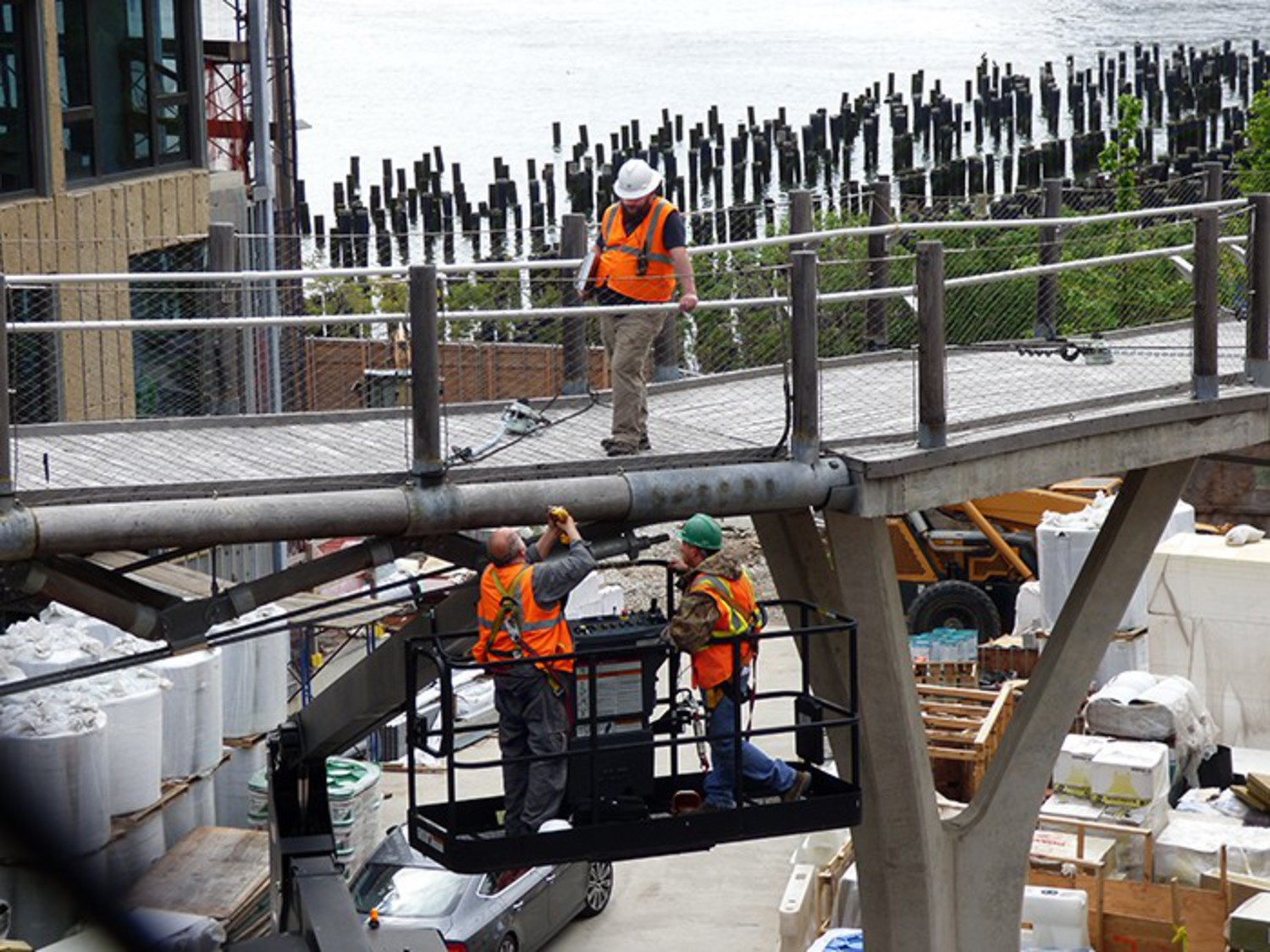 An engineering team assesses the stability of the bridge