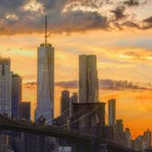 Sunset over Lower Manhattan and Brooklyn Bridge