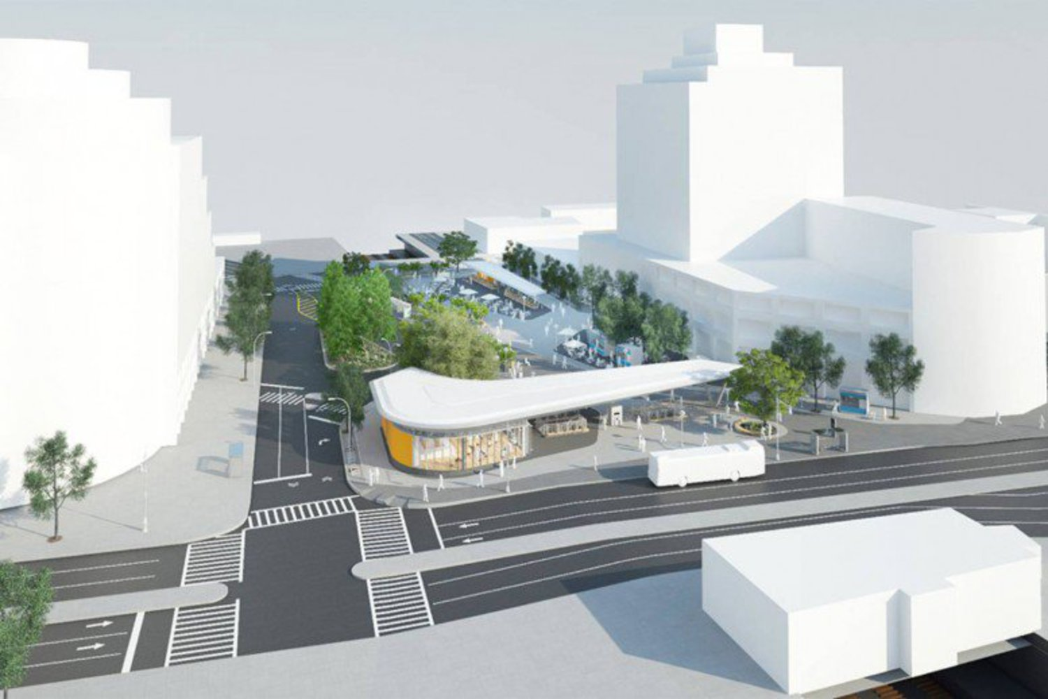 Fordham Plaza, rendering by Grimshaw Architects