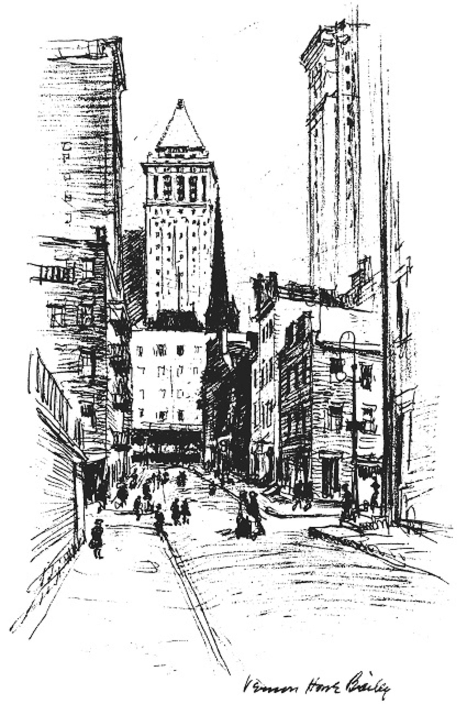 """Contrasts – the Bankers Trust and the Down Town Tenement, with Trinity's spire in the middle distance."" Electrical New York (1916)"
