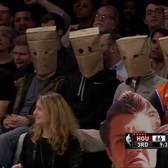 Knicks fans wear paper bags on their heads: Houston Rockets at New York Knicks