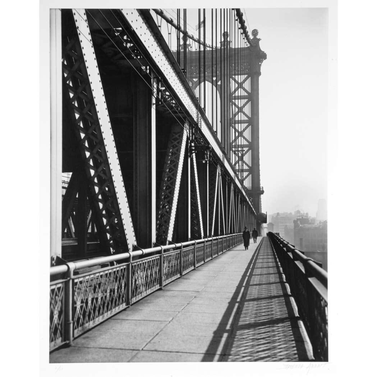 Vintage Photograph Shows Manhattan Bridge Pedestrian