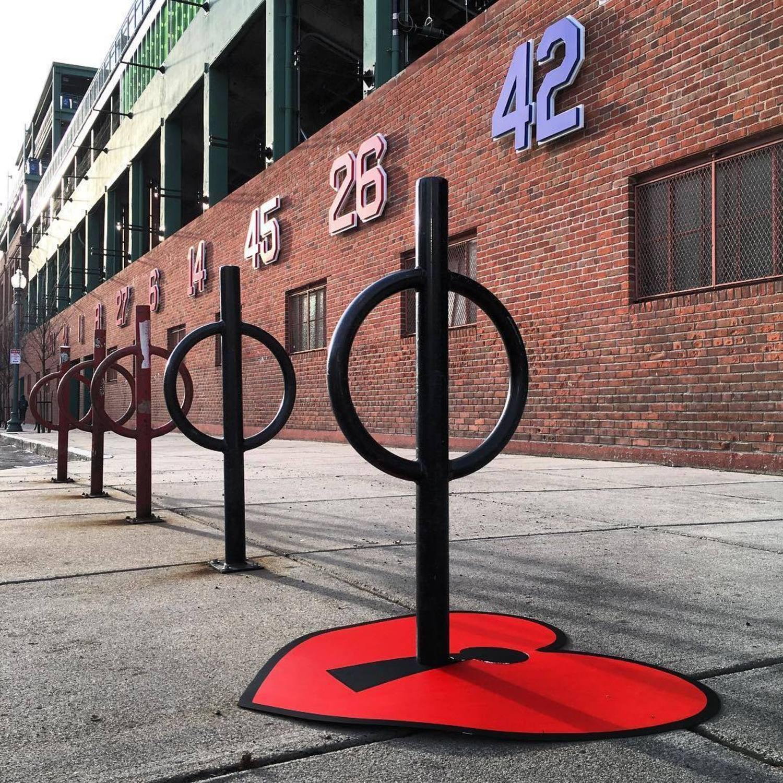 70 years ago today #jackierobinson broke the color barrier in #baseball #⚾️ #standup for #change #brooklyndodgers ⚾️#bostonredsox ⚾️#fenwaypark #streetart ⚾️#bikerack #❤️ #tombobnyc #streetartboston #massachusetts ⚾️ #Fenway #42 #keytoyourheart #streetart #boston #tombob #mlb ⚾️🗝❤️#openyourheart