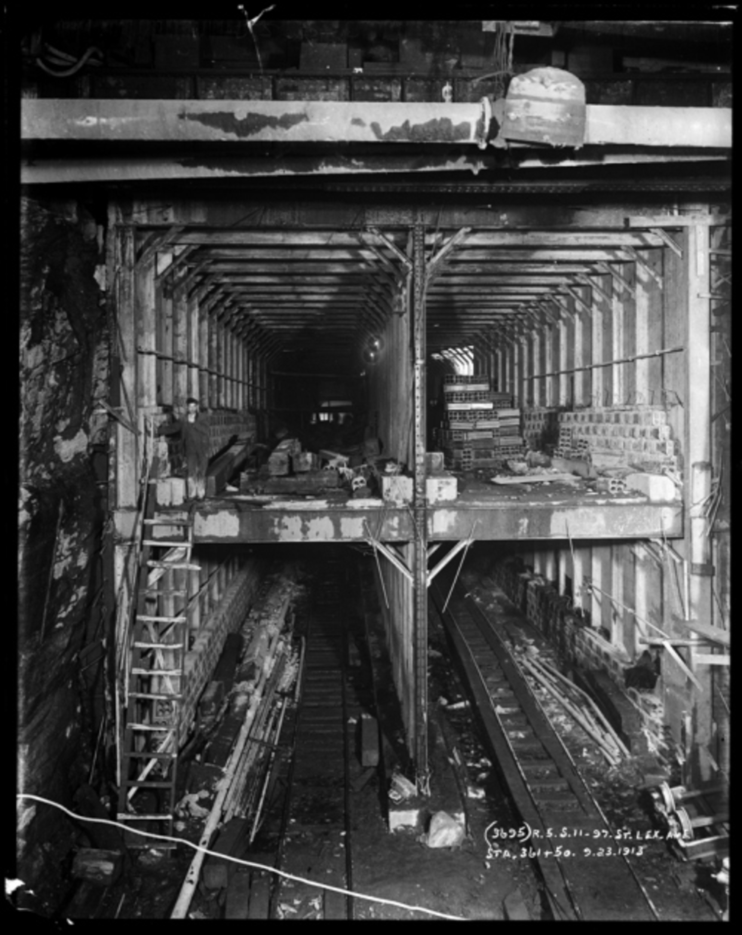 Pierre P. Pullis  G. W. Pullis. Subway tunnel construction at Lexington Avenue and 97th Street. 1913