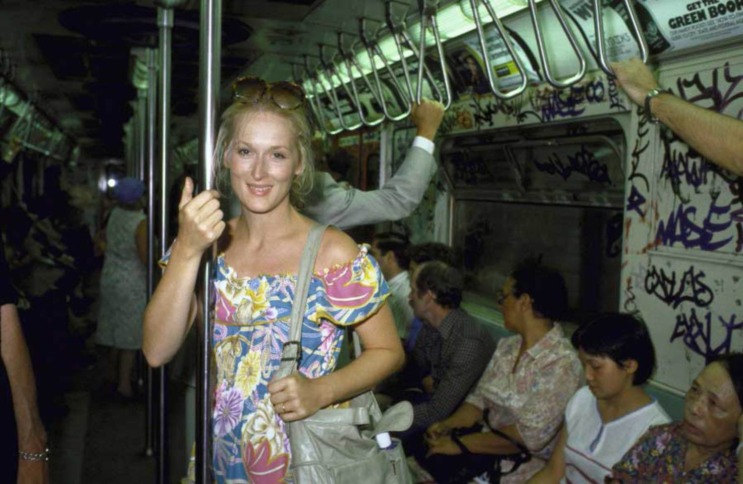 Meryl Streep rides the subway in August 1981