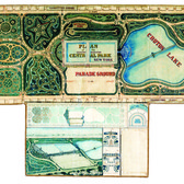 """The park engineer John Rink submitted this into the 1858 competition to design the layout of Central Park. His idea """"resembled the gardens of Versailles more than the bucolic English landscapes that predominated in most entries,"""" with its """"tight arrangements of colorful arbors and glades"""" forming their own organic shapes. (Courtesy of Metropolis Books)"""