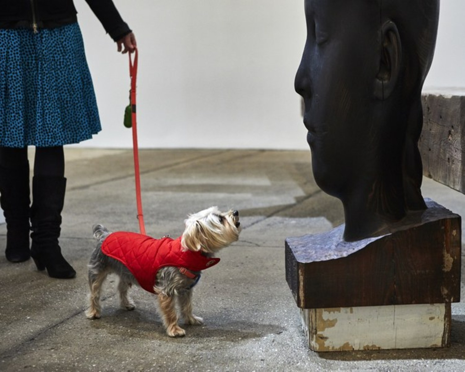 """Rocky on one of his """"art strolls"""" with Jessica Dawson, taking in Jaume Plensa at Galerie Lelong."""