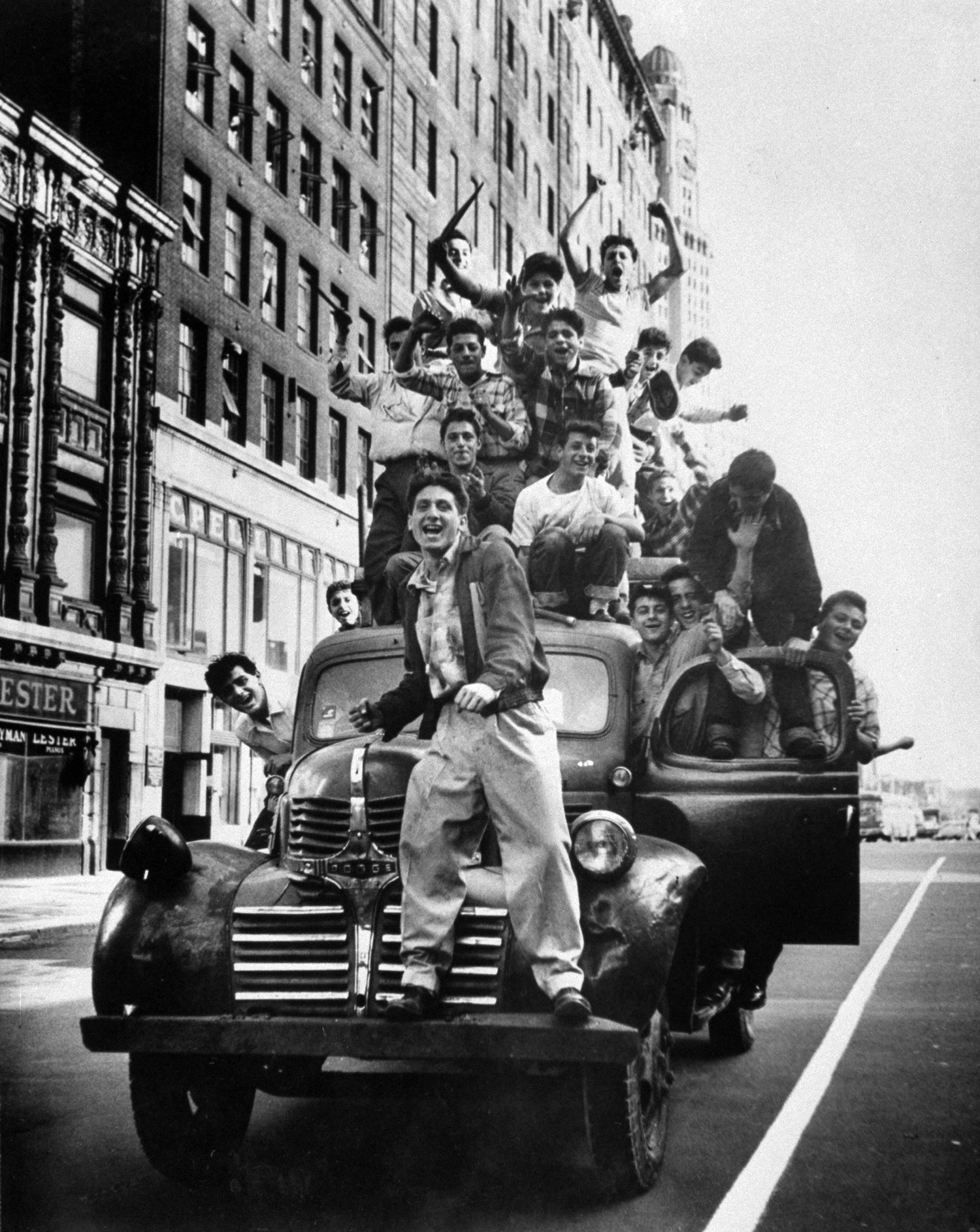 Fans celebrating Dodgers' World Series victory, 1955, Brooklyn.