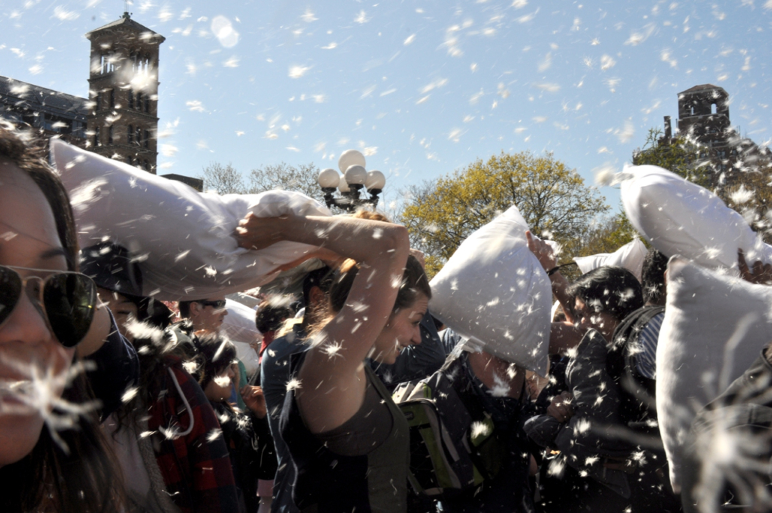 feathers | April 8, 2012:  Pillow Fight 2012, Washington Sq. Park, NYC
