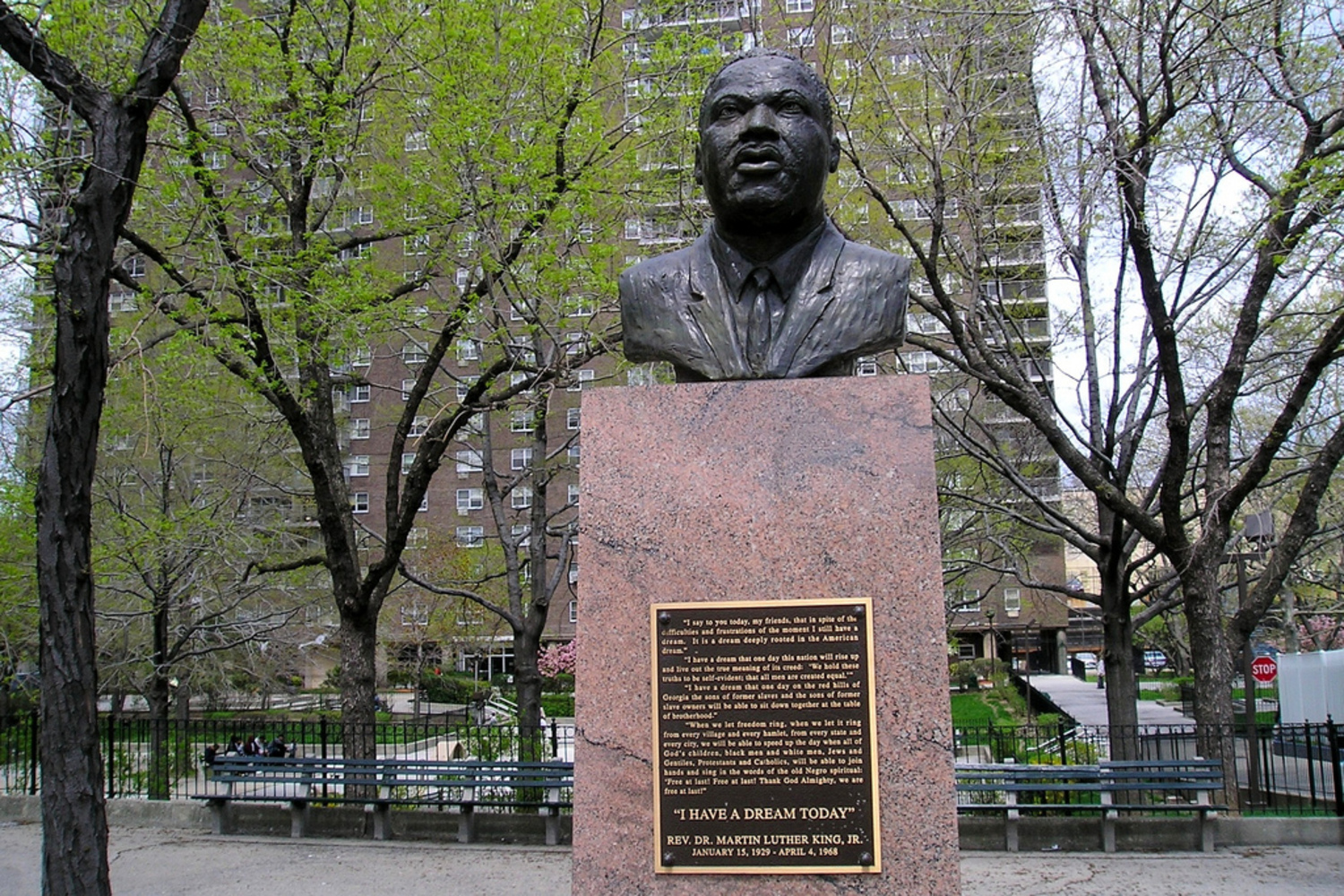 Martin Luther King Bronze Statue (1970) by Stanley Sawyer, Harlem, New York City | Esplanade Garden Houses, West 147 Street, Manhattan NYC