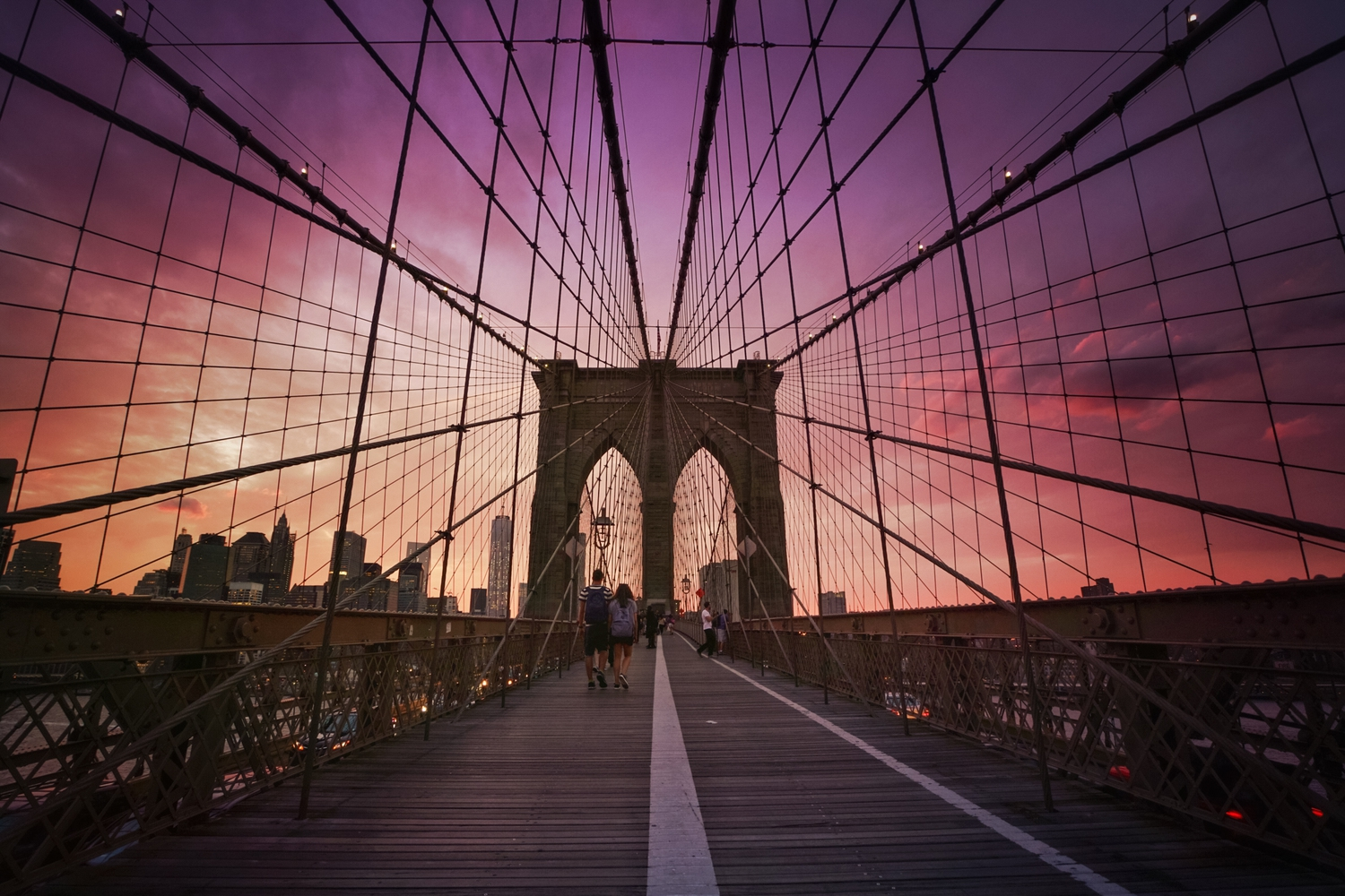 "Brooklyn Bridge Sunset - New York City | Sunset as seen while standing on the Brooklyn Bridge facing towards the New York City skyline.   (last night! taken with my Sony A7RII)  What a sunset!   ----    Tons of information about my <a href=""http://www.amazon.com/gp/product/1440339589/ref=as_li_tl?ie=UTF8&camp=1789&creative=9325&creativeASIN=1440339589&linkCode=as2&tag=nyththle0e-20&linkId=ER6GYT5FRYNMEPLF"" rel=""nofollow"">New York photography book</a> with sample pages (including where to order and what stores are carrying it) here:  <a href=""http://nythroughthelens.com/post/92873566010/ny-through-the-lens-the-book-i-am-super"" rel=""nofollow"">NY Through The Lens: A New York Coffee Table Book</a> ---   View my New York City photography at my website <a href=""http://nythroughthelens.com/"" rel=""nofollow"">NY Through The Lens</a>.  View my Travel photography at my travel blog: <a href=""http://travelinglens.me/"" rel=""nofollow"">Traveling Lens</a>.  Interested in my work and have questions about PR and media? Check out my:  <a href=""http://nythroughthelens.com/about"" rel=""nofollow"">About Page</a> 