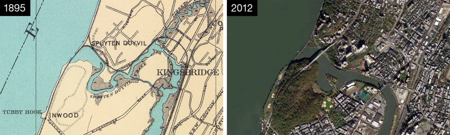 """Map of the Marble Hill area from 1895 (when the canal was completed), and an aerial view of what the area looks like now. Note the """"island"""" of Marble Hill on the 1895 map."""